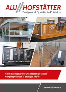 Alu Hofstätter Geländermodelle aus Alu/Niro/Glas/Stahl